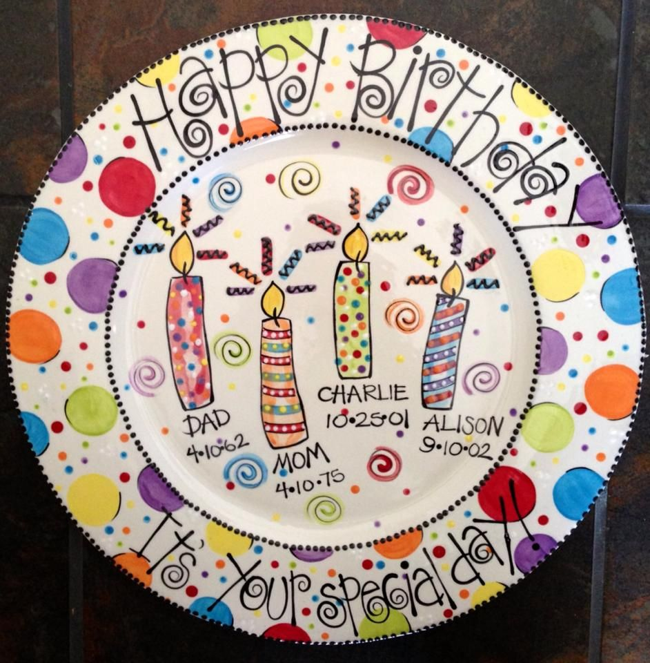 White ceramic plates for crafts - Family Birthday Platter Lori Dodson Designs