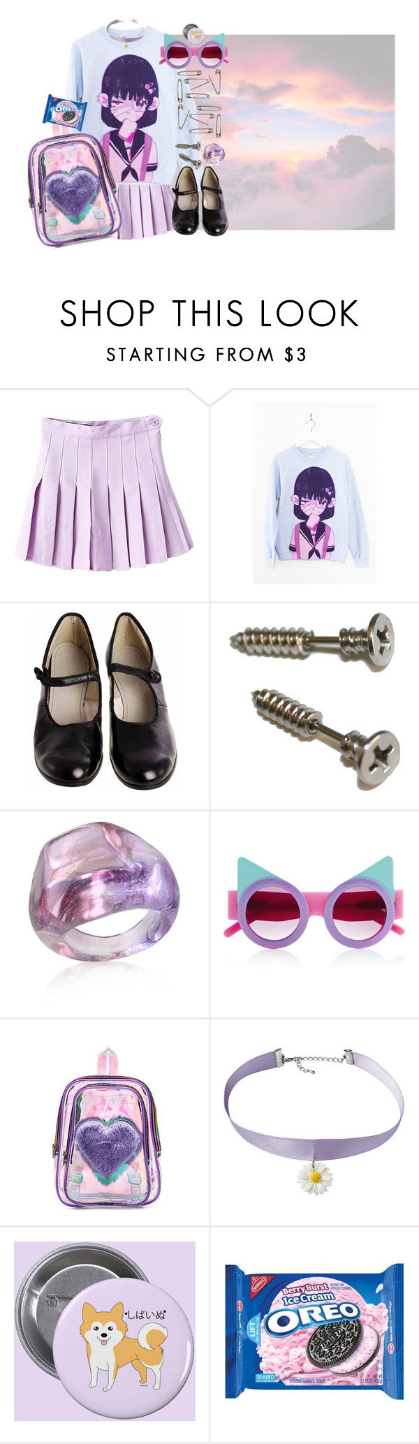 """""""P 4 T I 3 N T"""" by bandaidkid ❤ liked on Polyvore featuring WithChic, Antica Murrina, UNIF, cute, pastel, kawaii, harajuku and fairykei"""