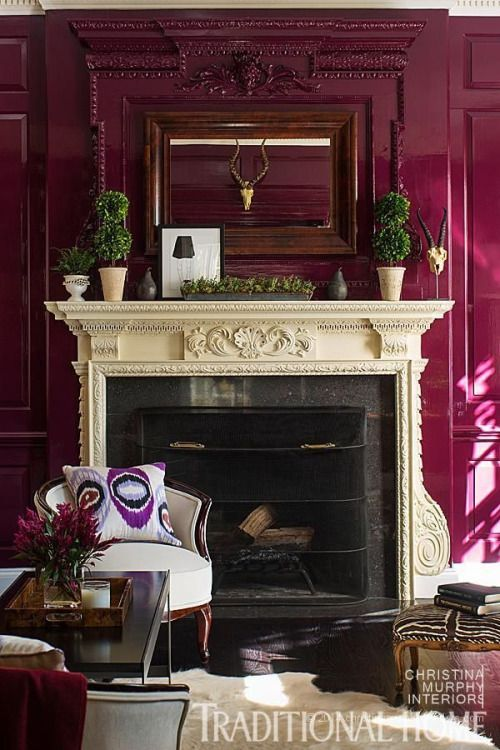 Magenta Walls Decor Stone Fireplace Designs Decor Design #red #and #purple #living #room