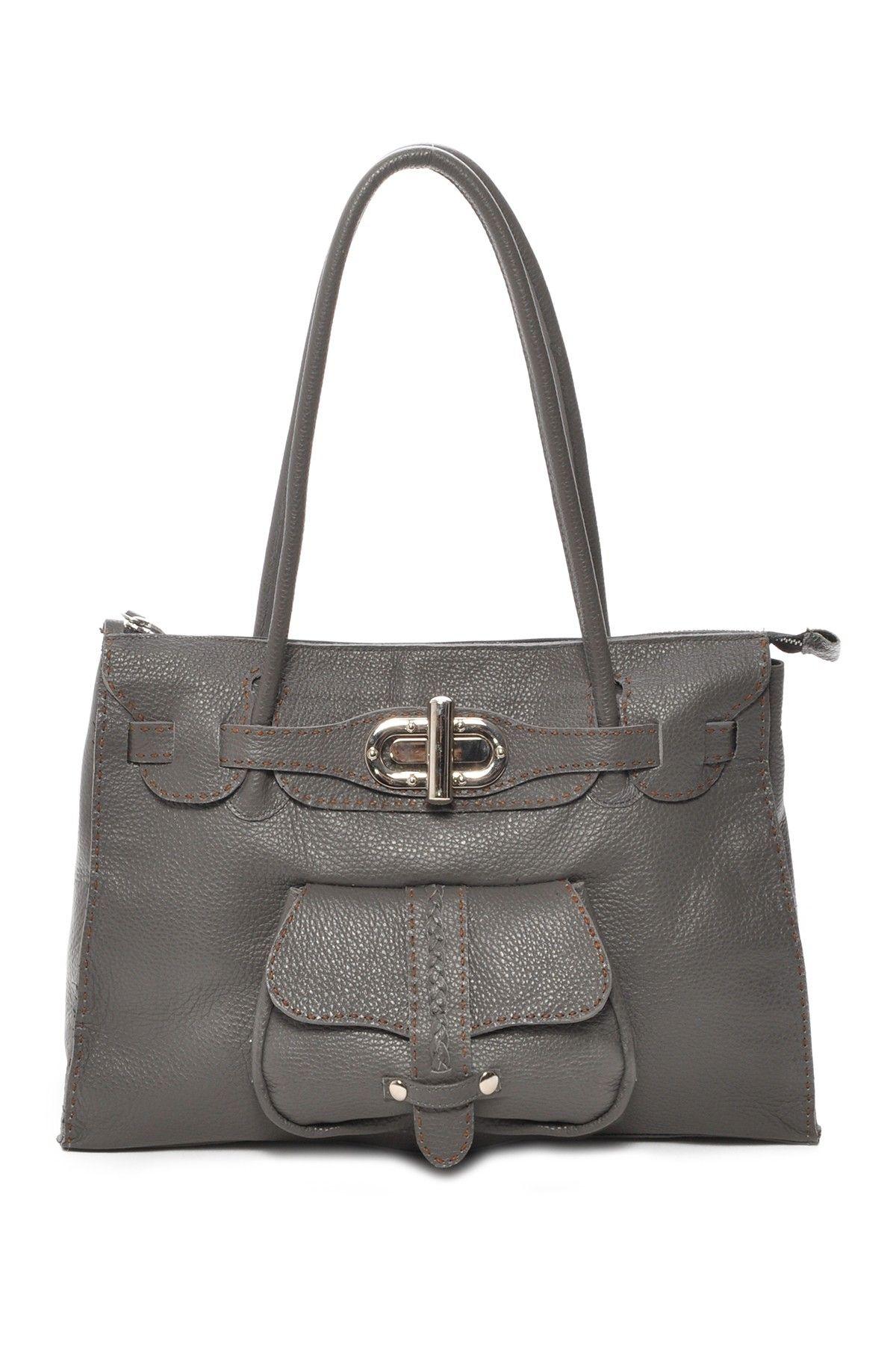 Carla Mancini Top Zip Leather Tote Leather Tote Bag Bags