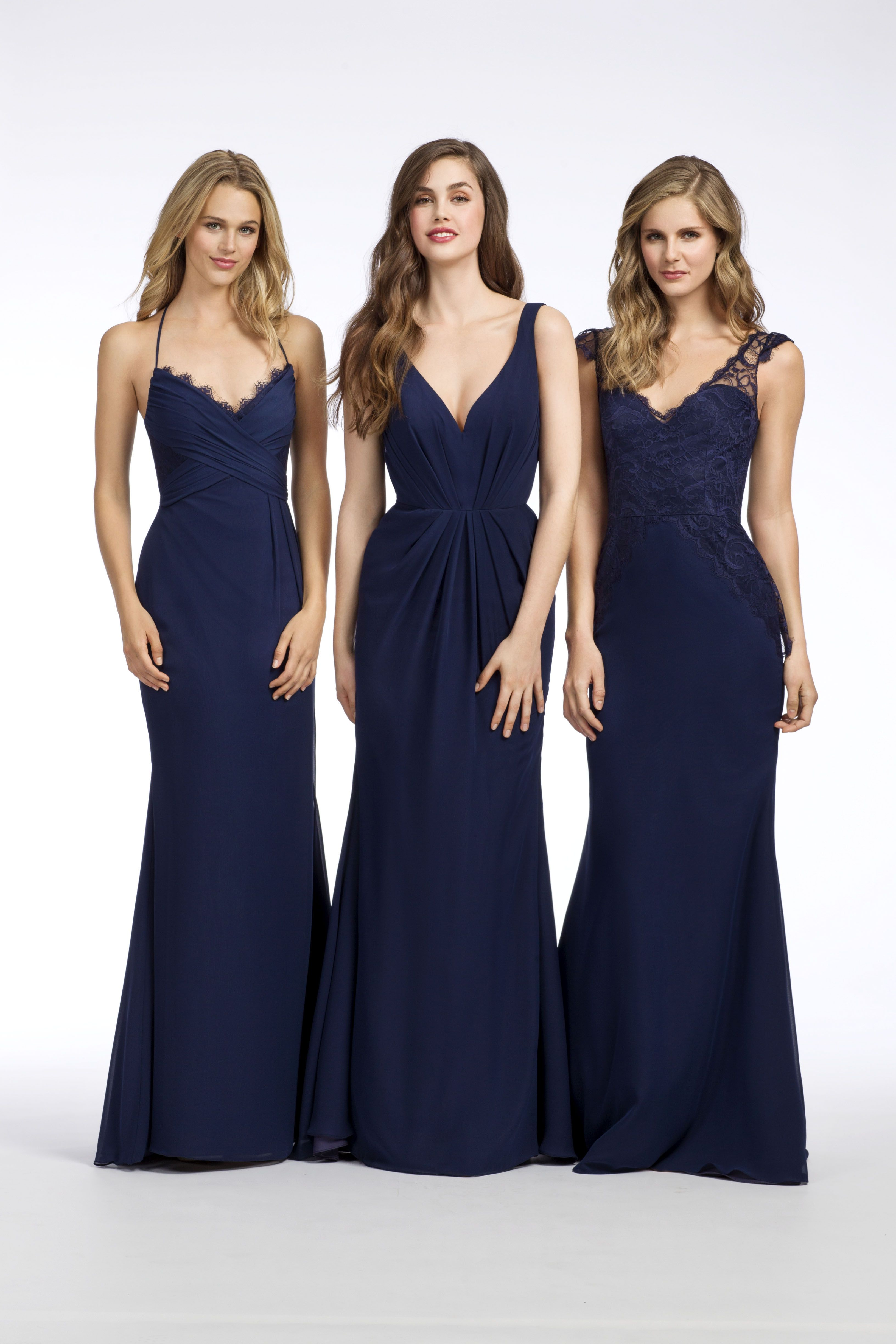 Hayley paige occasions styles 5652 5651 5650 everything indigo chiffon a line bridesmaid gown v neckline natural waist with sunburst draped skirt open cut out back ombrellifo Gallery