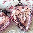Pink mercury glass hearts