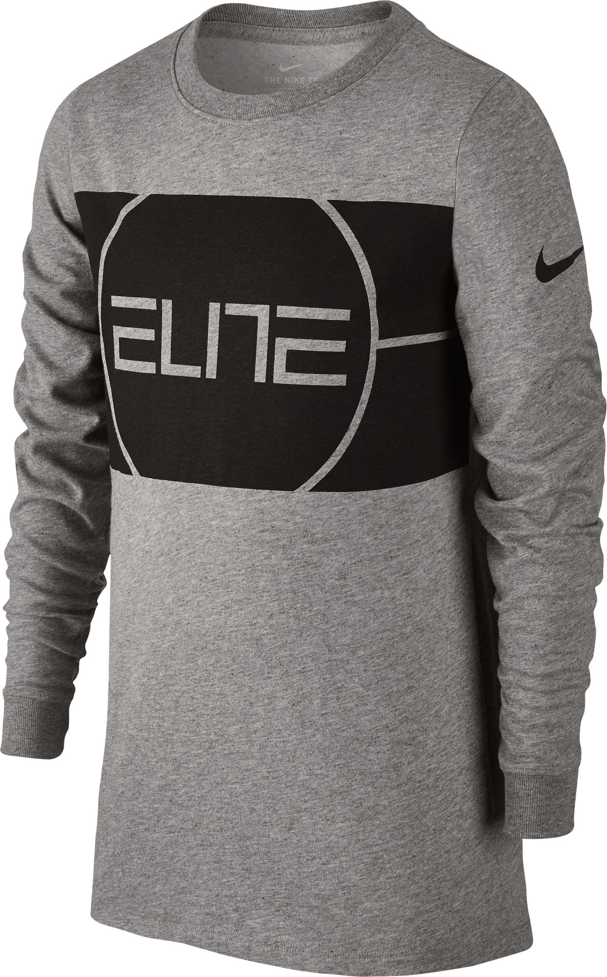 90cfdc795594 Nike Boys  Dry Elite Basketball Long Sleeve T-shirt (Dark Gray Heather