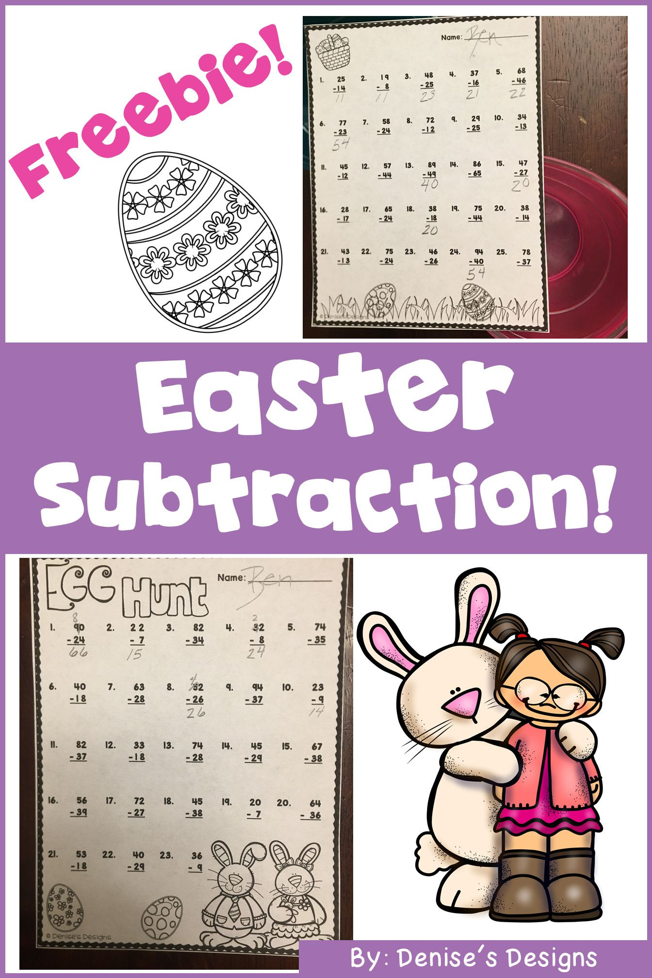 2 Easter Subtraction Worksheet Printable In