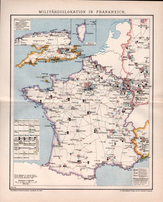 Map 8f France.1898 France Military Deployment Old Map Antique By Craftissimo