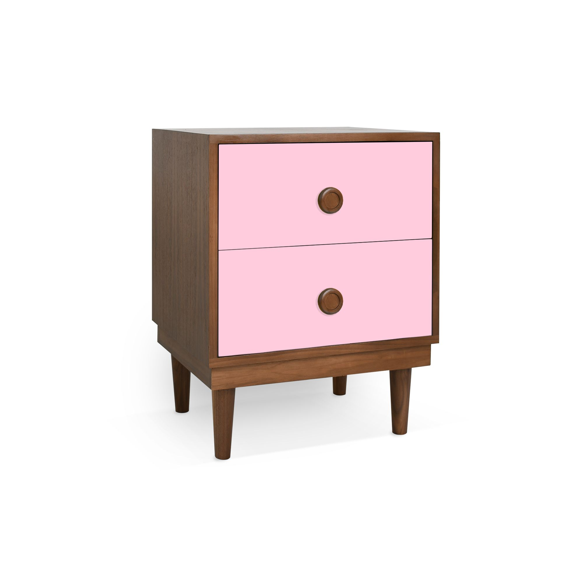 Lukka Modern Kids 2-Drawer Nightstand, Walnut/Pink - Spruce Up: Search - night stands, pink, eclectic modern