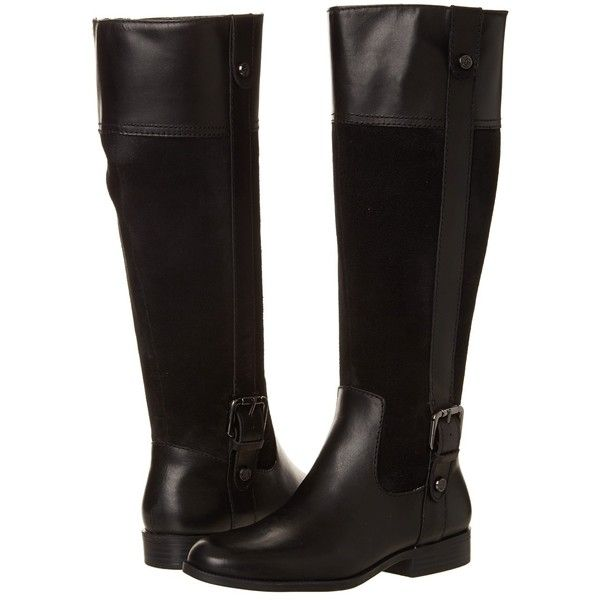 Anne Klein Cijiw - Wide Calf (Black Suede Combo) Women's Boots ($51)