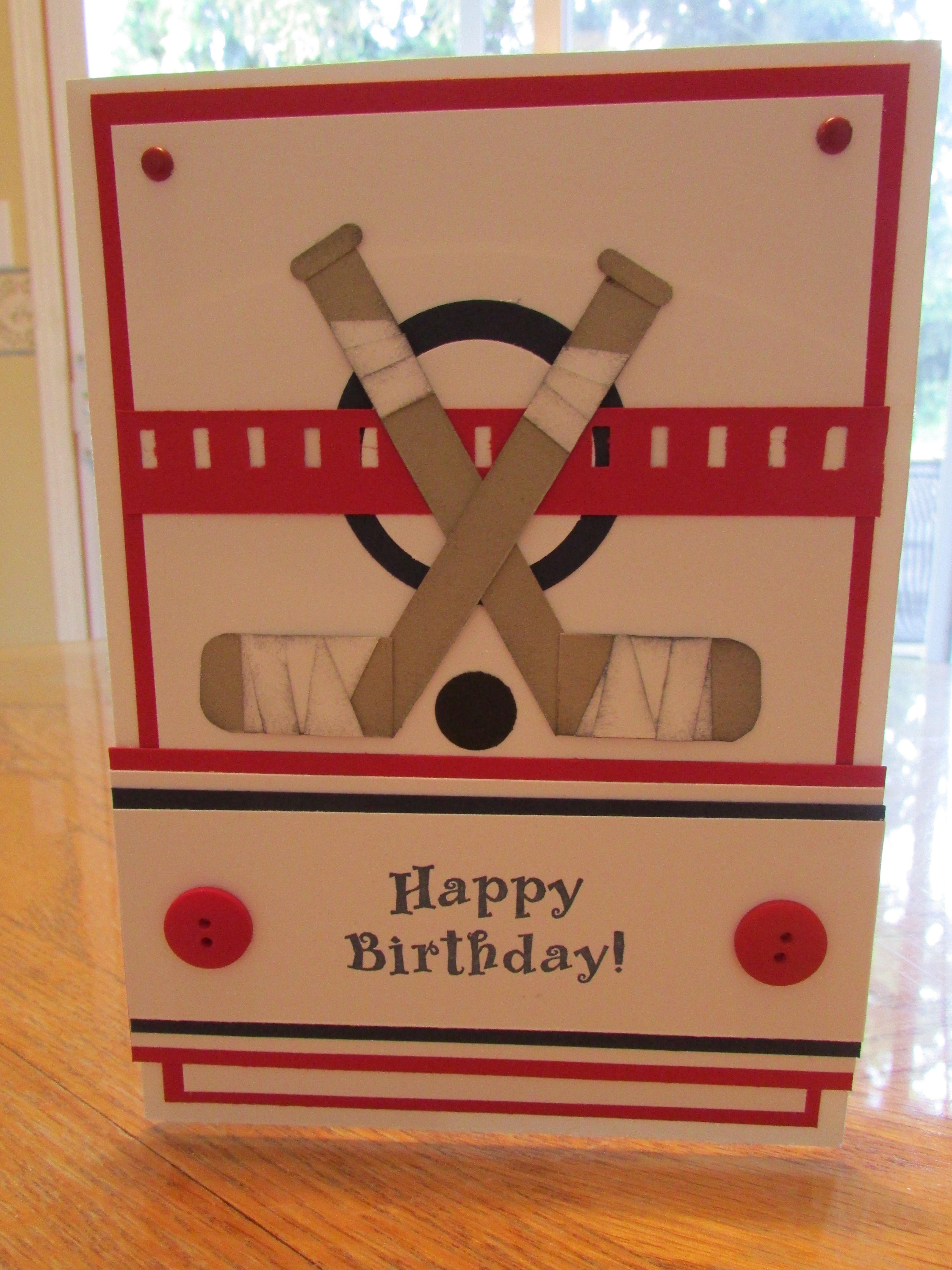 Hockey Birthday Card My punch art Pinterest – Hockey Birthday Card