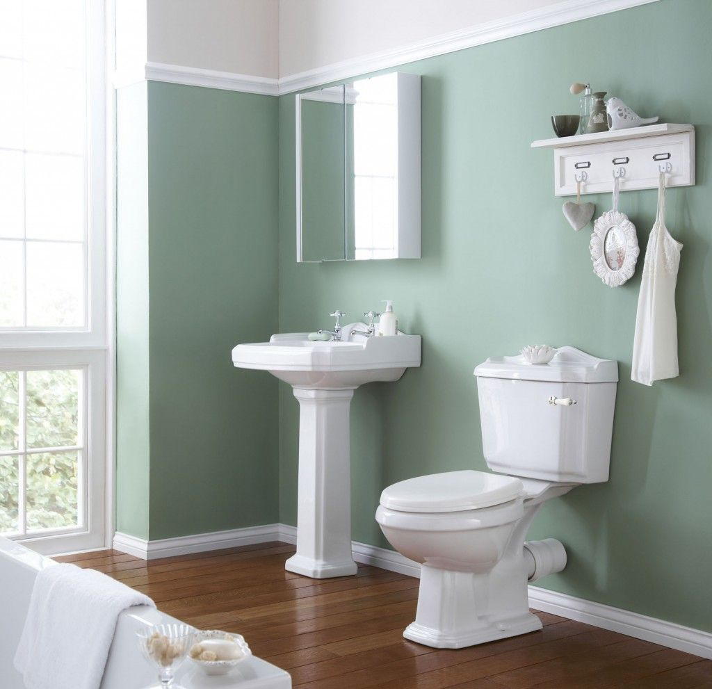 Ideas For Bathroom Wall Decor White Bathtub Faucet Green Wall Paint ...
