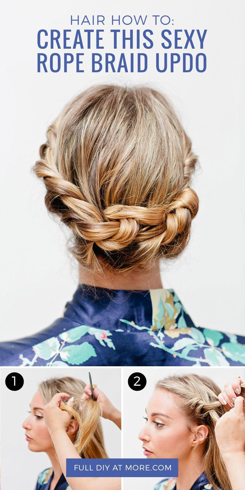 This rope braid updo hairstyle is sure to keep strands in place