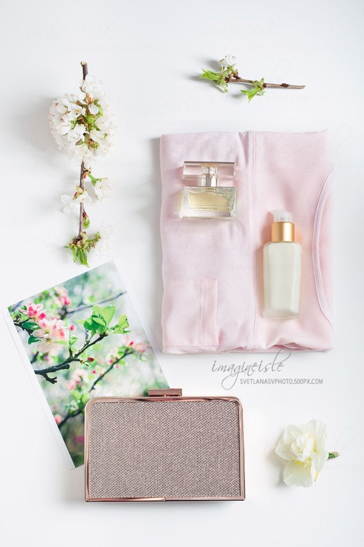 Spring Mood   Womanu0027s Modern Female Summer Bright Clothing U0026 Accessories:  Pink Top, Face Cream, Perfume, Clutch And Photo Of Blossoming Tree And Fresh  Apple ... Ideas