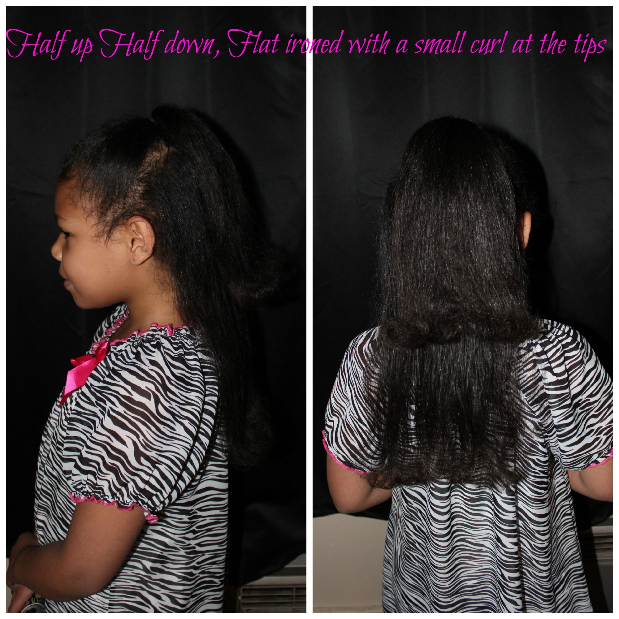 Flat Ironed Hair, With A Half Up Half Down Pony Tail With A Small