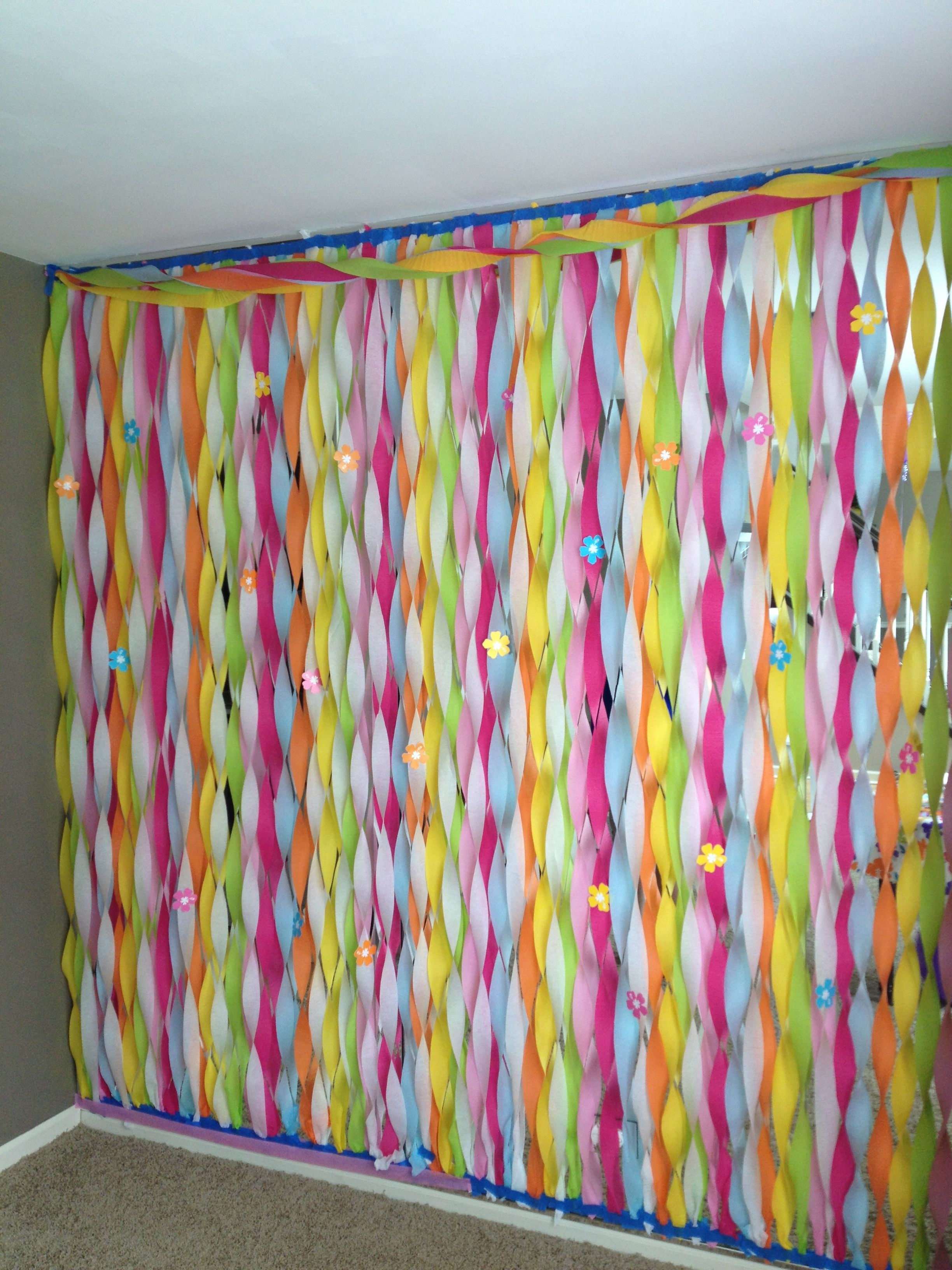 Streamers wall decoration fantastic way to cover up a 90s birthday party ideas streamers wall decoration amipublicfo Image collections