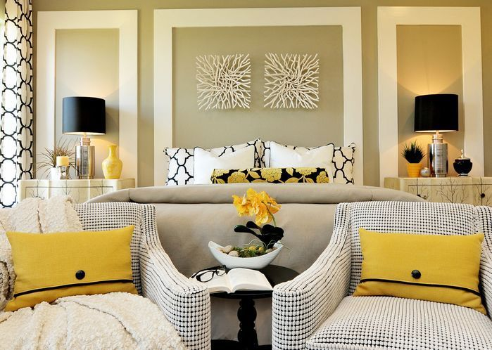 Lovely Lemon Black And White Bedroom Contemporary Bedroom Photos By Masterpiece Small Master Bedroom Decorating Ideas Small Master Bedroom Home Bedroom Lemon yellow bedroom ideas