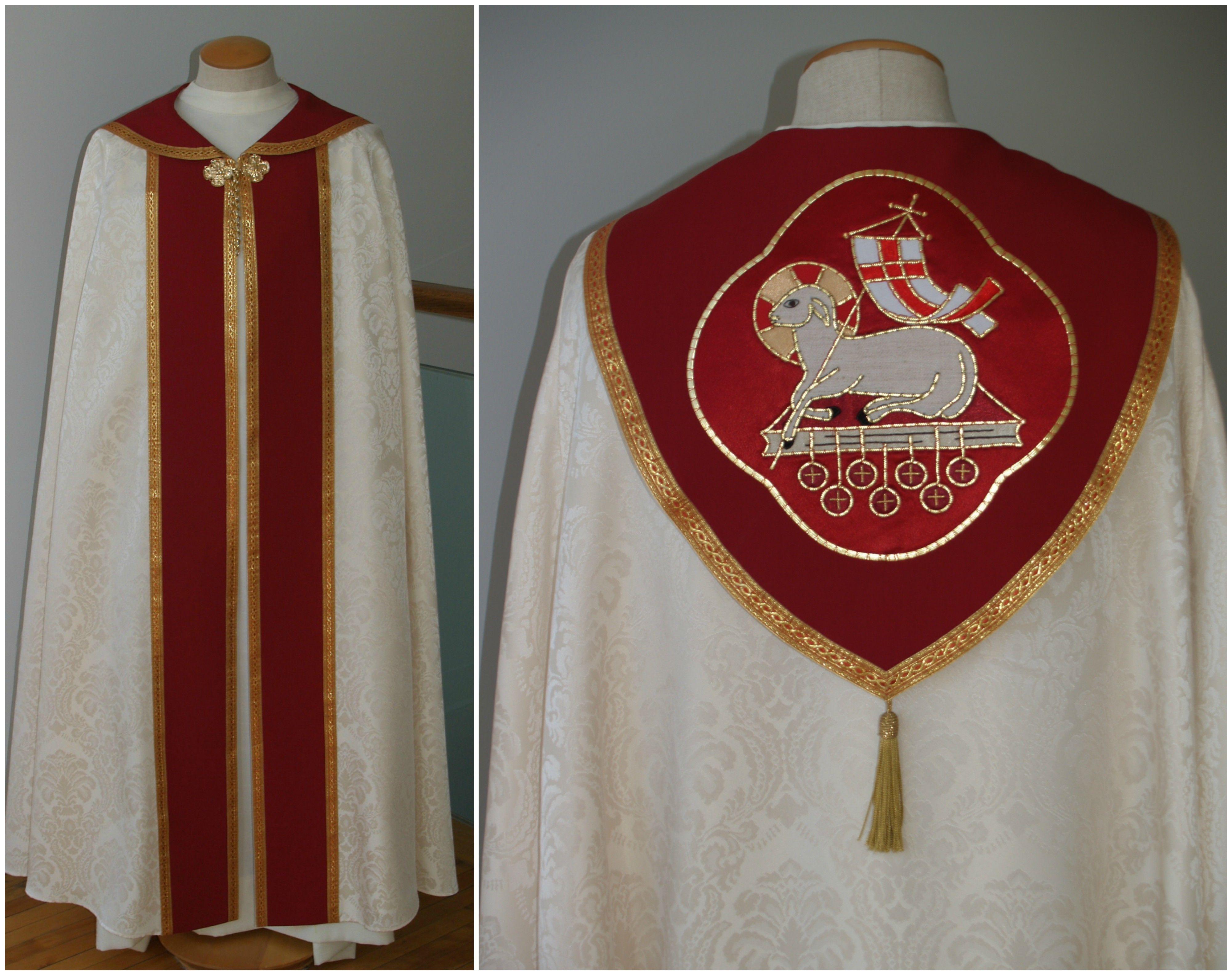 White Red Ihs Lamb Cope Liturgical Seasons Communion Sets Vestment
