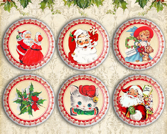 Printable Christmas Circles 1.5 Inch & 1 Inch Size On