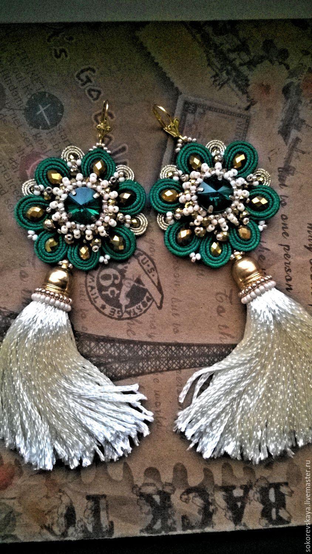 Soutache earrings with tassels | Купить Сутажные серьги – кисточки «Варвара краса -длинная коса» - комбинированный, серьги длинные