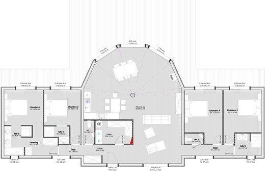 Maison bois demi-ronde Oriane de plain pied - Jusqu\u0027à 140m² Plan - plans de maison gratuit plain pied