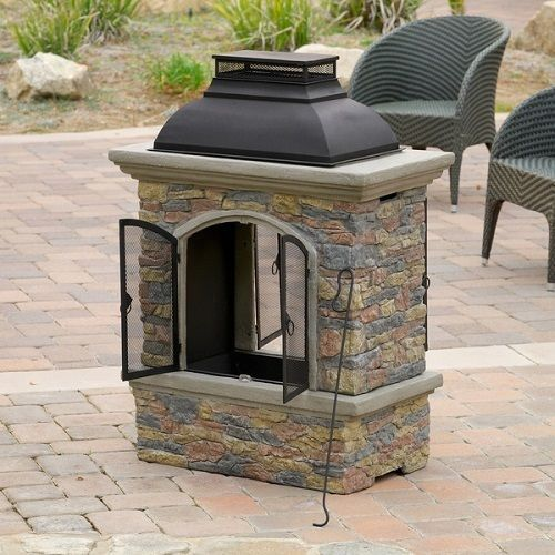 Outdoor Chiminea Natural Stone Fireplace Wood Burning Stove Portable Fire  Pit