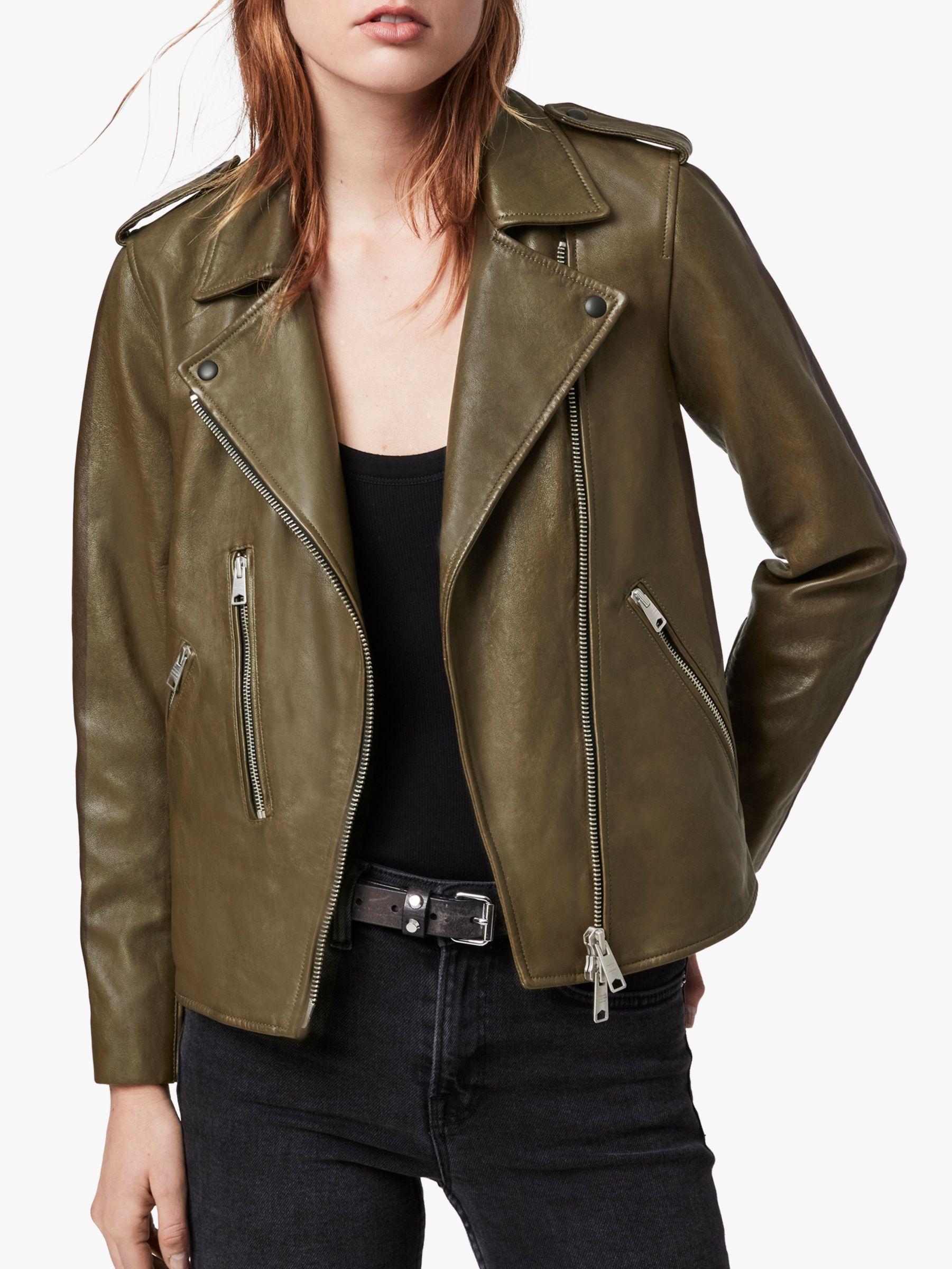 Allsaints Elva Leather Biker Jacket Olive Green Lederjacke Jacken Leder [ 2400 x 1801 Pixel ]