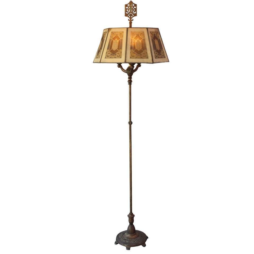 1920s Antique Floor Lamp With Metal Mesh Shade For Sale Floor
