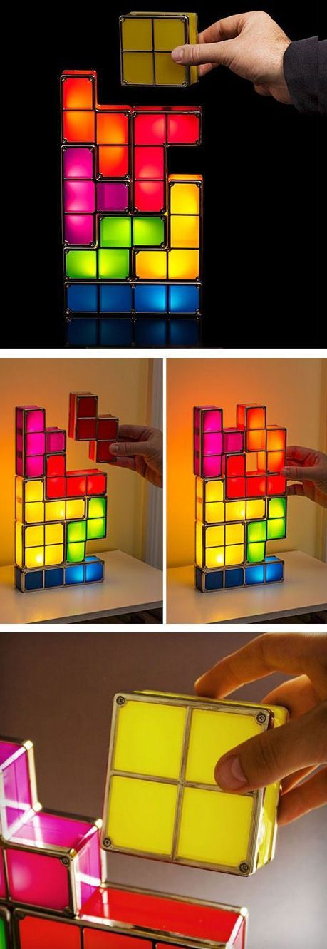 Tetris Stackable Led Desk Lamp Hand Over The L Shape Please Seven Piece Interlocking Light Pieces Can Be Stacked Any Way Sup Cool Lighting Led Desk Lamp Lamp