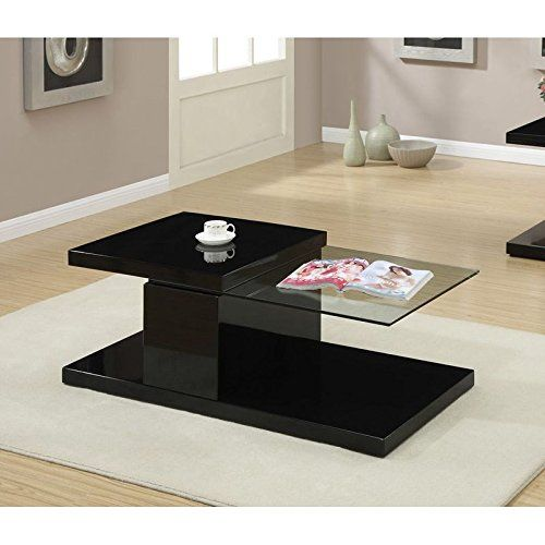 Best Modern Black Swivel Half Glass Top Coffee Table By Poundex 400 x 300
