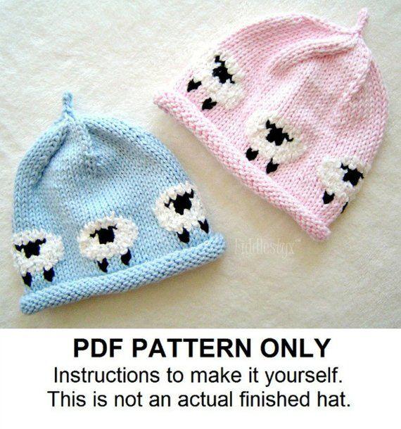 Hat Knitting Pattern - Little Lamb Hat - Woolly Sheep Hat - the AVERY  beanie (Newborn ddc2e98a53e