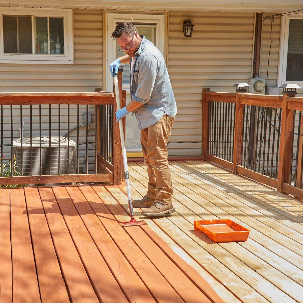 How To Refinish A Deck With Acrylic Based Deck Stain Deck Repair