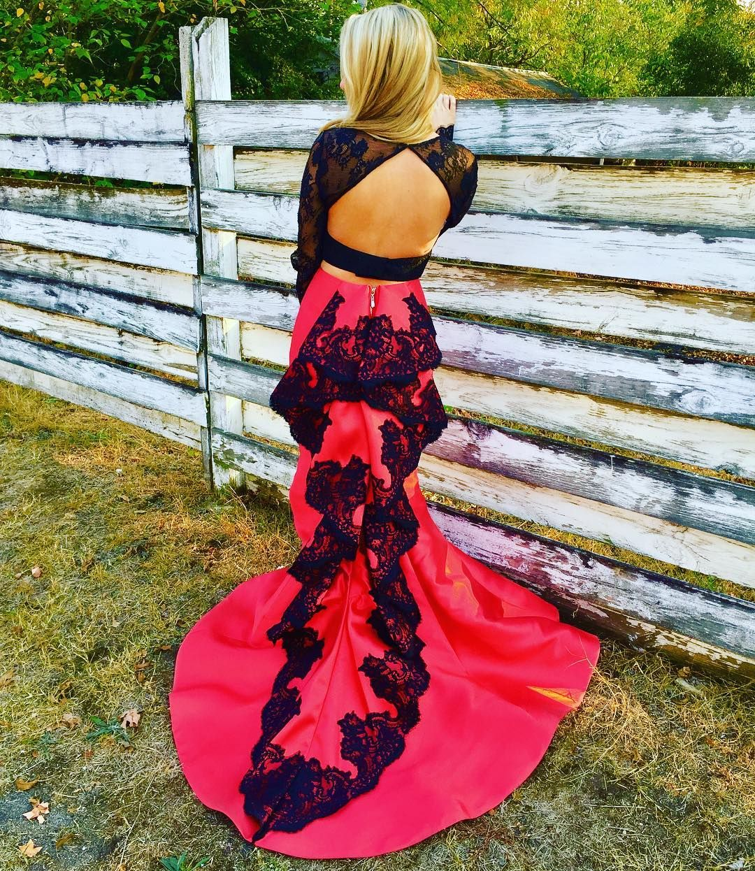 Open back prom dresstwo piece prom dressessatin prom hot prom