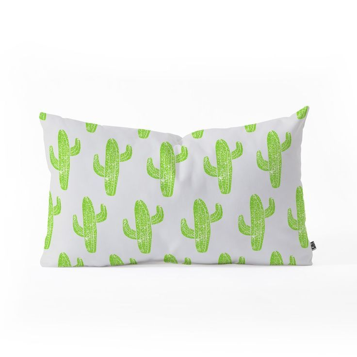 Cacti Party Bianca Green Linocut Cacti Green Oblong Throw Pillow Deny Designs Home Accessories Oblong Throw Pillow Throw Pillows Deny Designs
