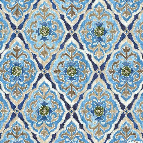 la scala 7 - roman tiles  silver  fabric from
