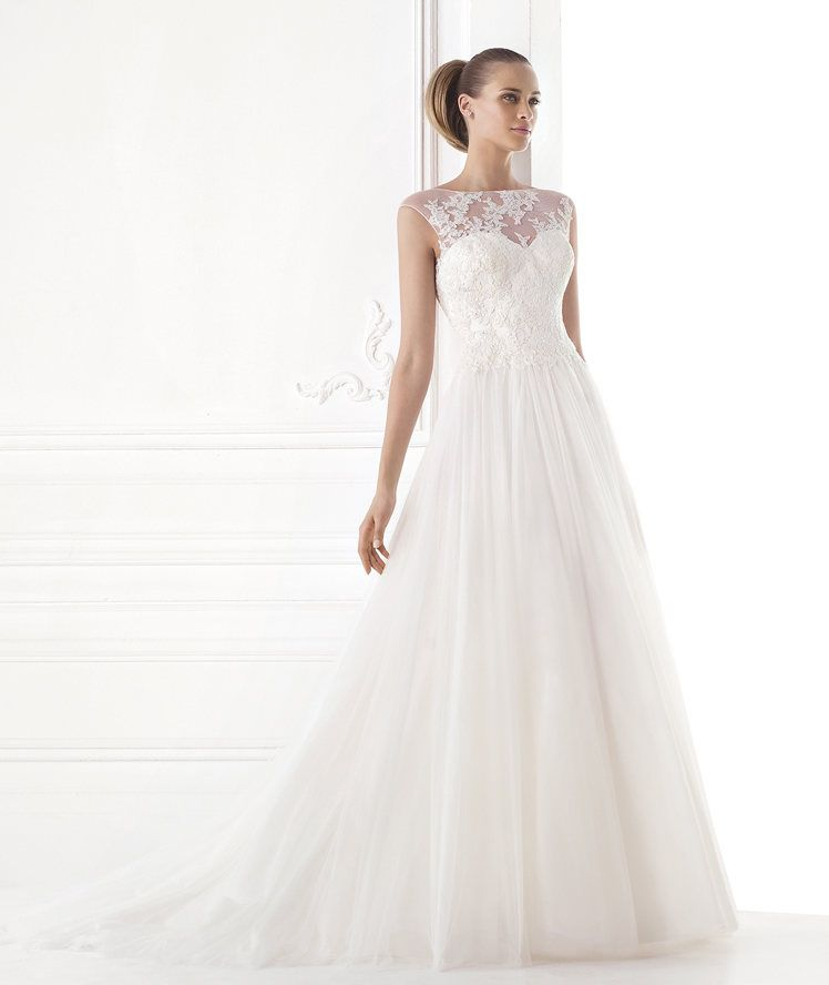 makeda. a-line dress in tulle and lace with gemstone embroidery