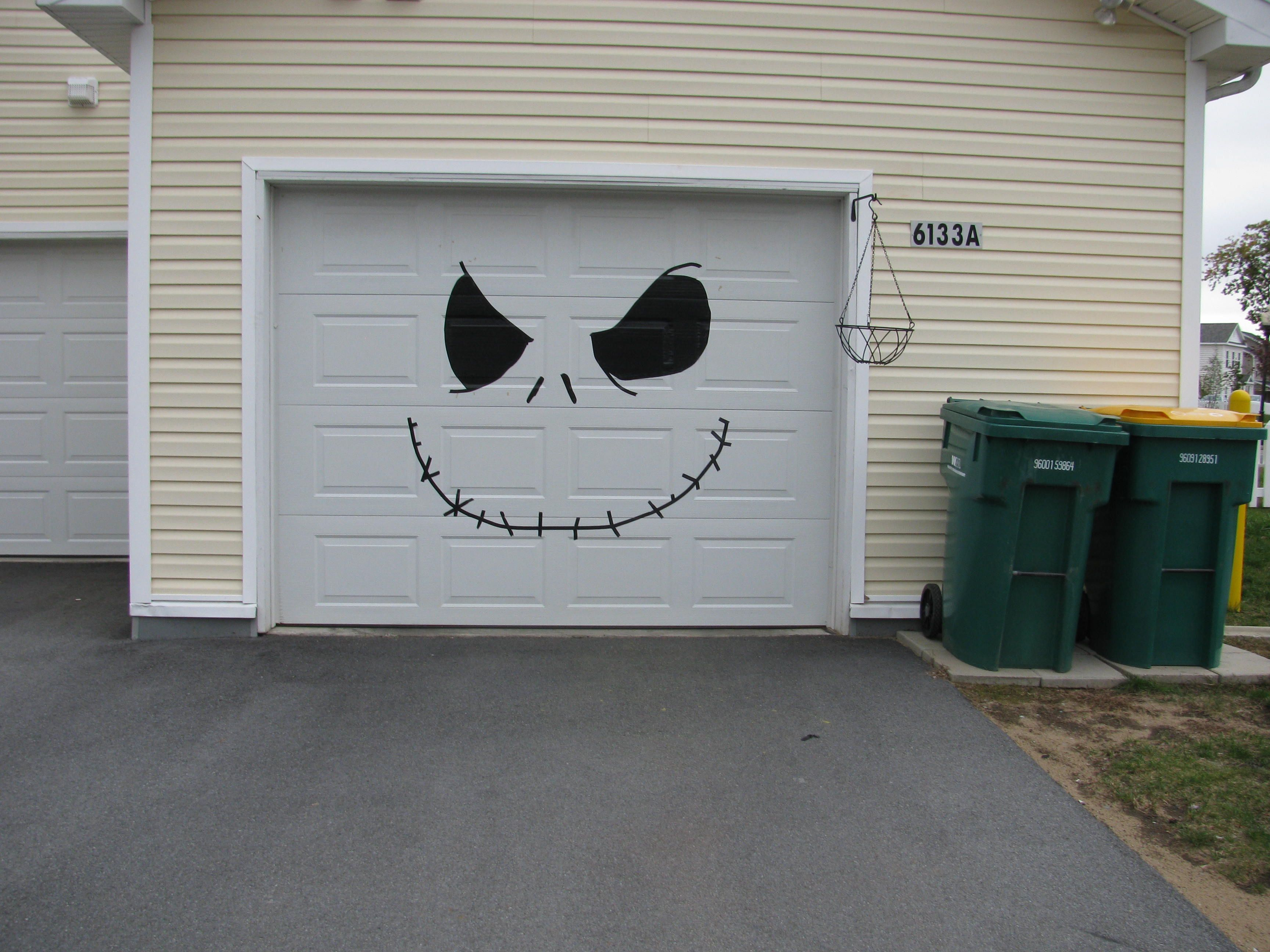 Halloween   My Garage Door   Jack The Pumpkin King (made Out Of Electrical  Tape