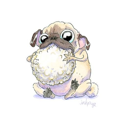 Popcorn Ball Pug Cartoon Cute Pugs Pug Art