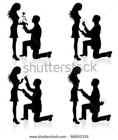Silhouettes Of A Man Proposing To A Woman While Standing On One Knee