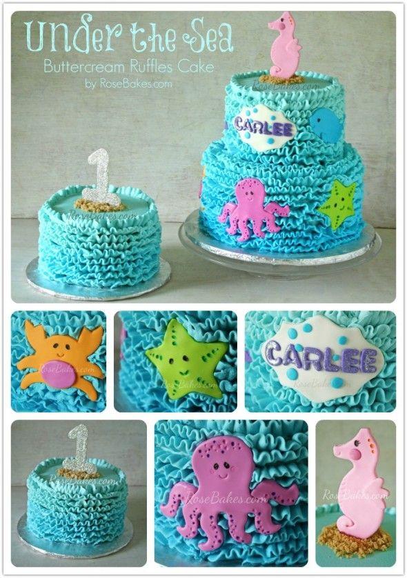 Awe Inspiring Buttercream Ruffles Under The Sea Cake Smash Cake Birthday Funny Birthday Cards Online Eattedamsfinfo