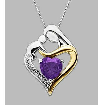 Beautiful!! Product: .003 ct. t.w. Diamond Accent and Amethyst Mother and Child Heart-Shaped Pendant