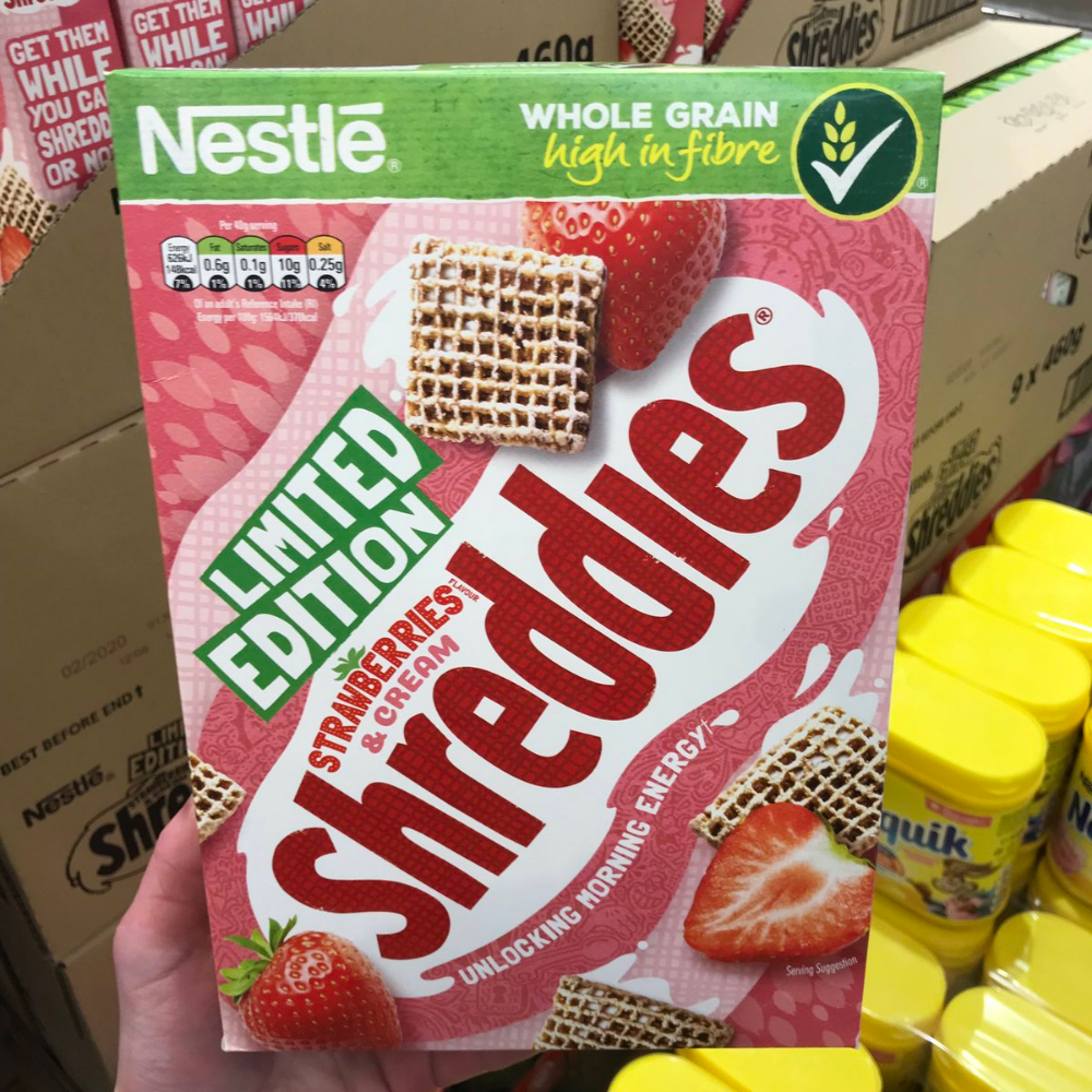 Limited Edition Strawberries & Cream Shreddies Cereal (uk