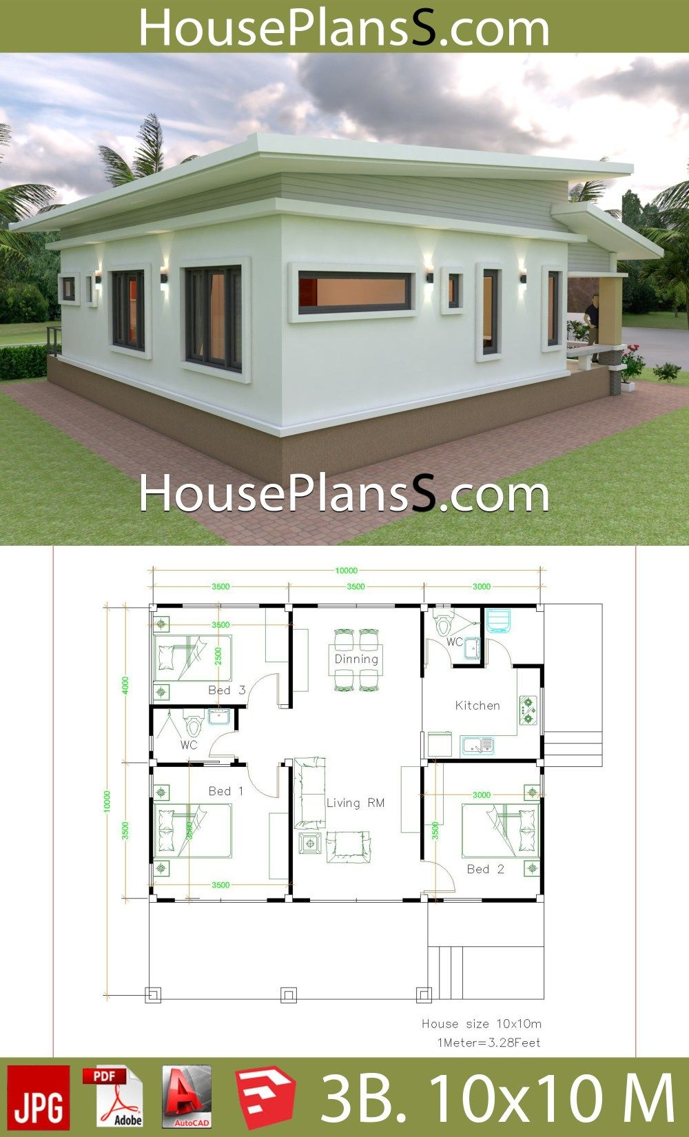 House Design Plans 10x10 With 3 Bedrooms Full Interior With Images Simple House Design Small House Blueprints Cottage Style House Plans