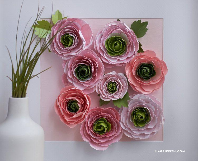 Paper Ranunculus Flowers Lia Griffith Paper Flower Tutorial Paper Flower Template Foam Flowers