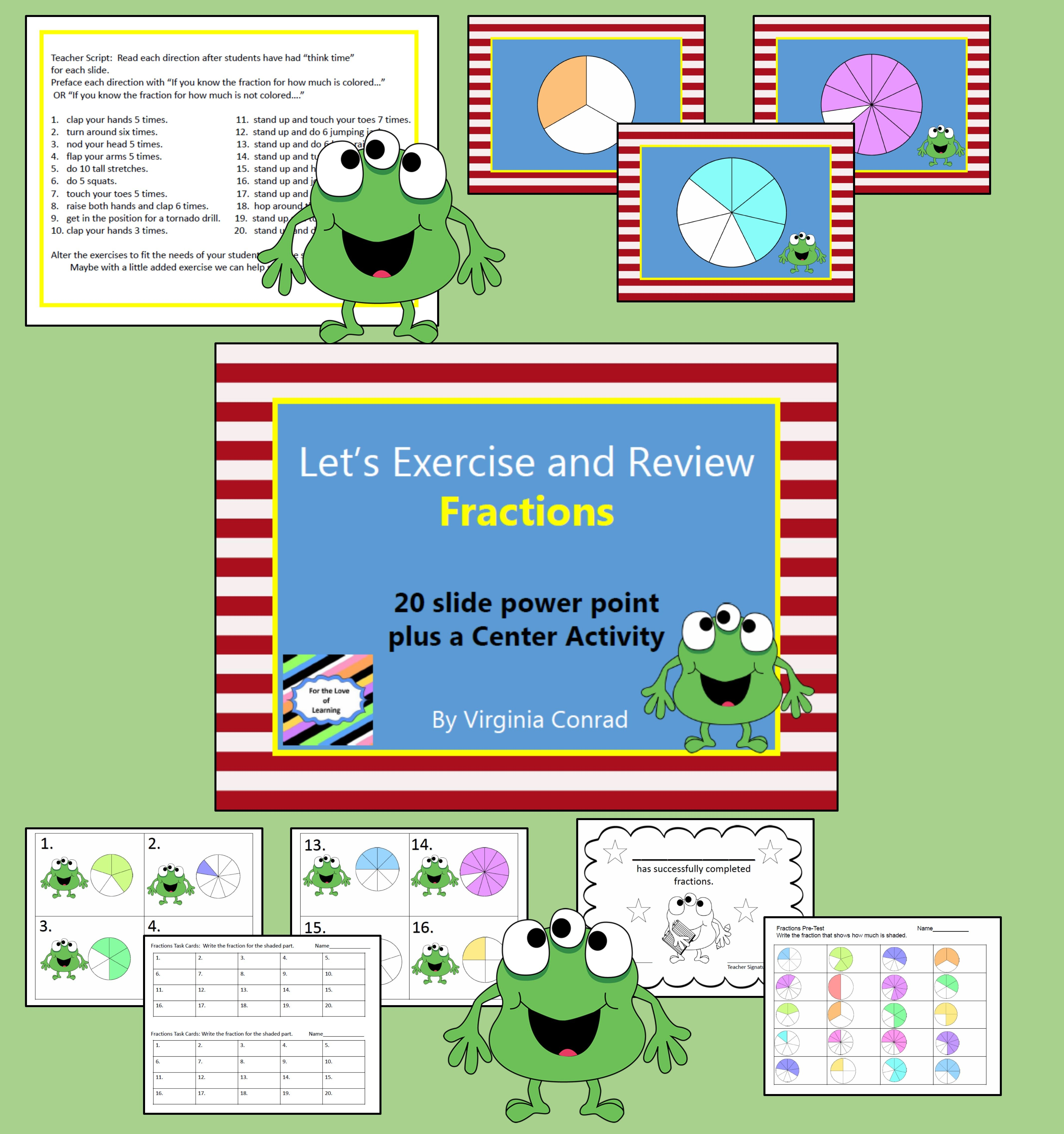 slide show, center activity, pre-test and more---fractions | Love 2 ...