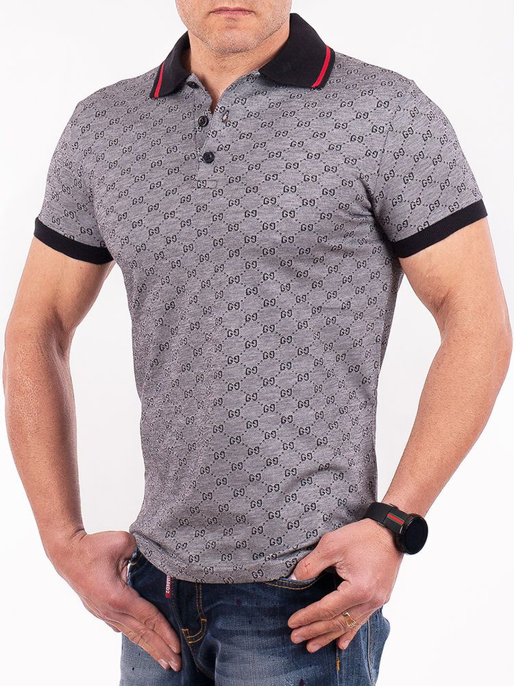 8c7e69e62f9f2 Authentic Gucci Men's Gray original GG Jacquard Slim Cotton Polo Shirt NWT # Gucci #PoloRugby