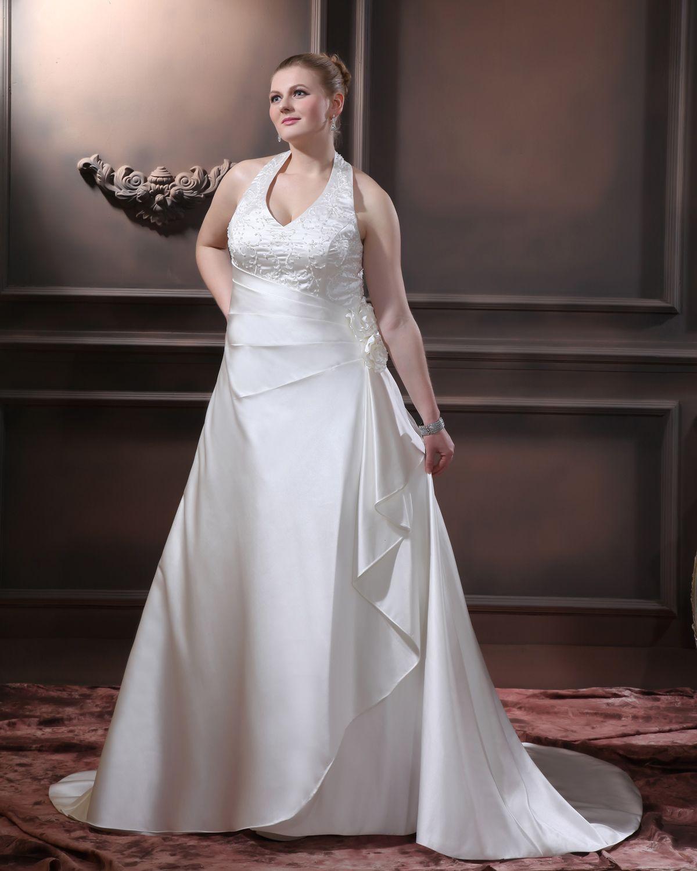 Satin beading ruffles v neck court plus size bridal gown wedding