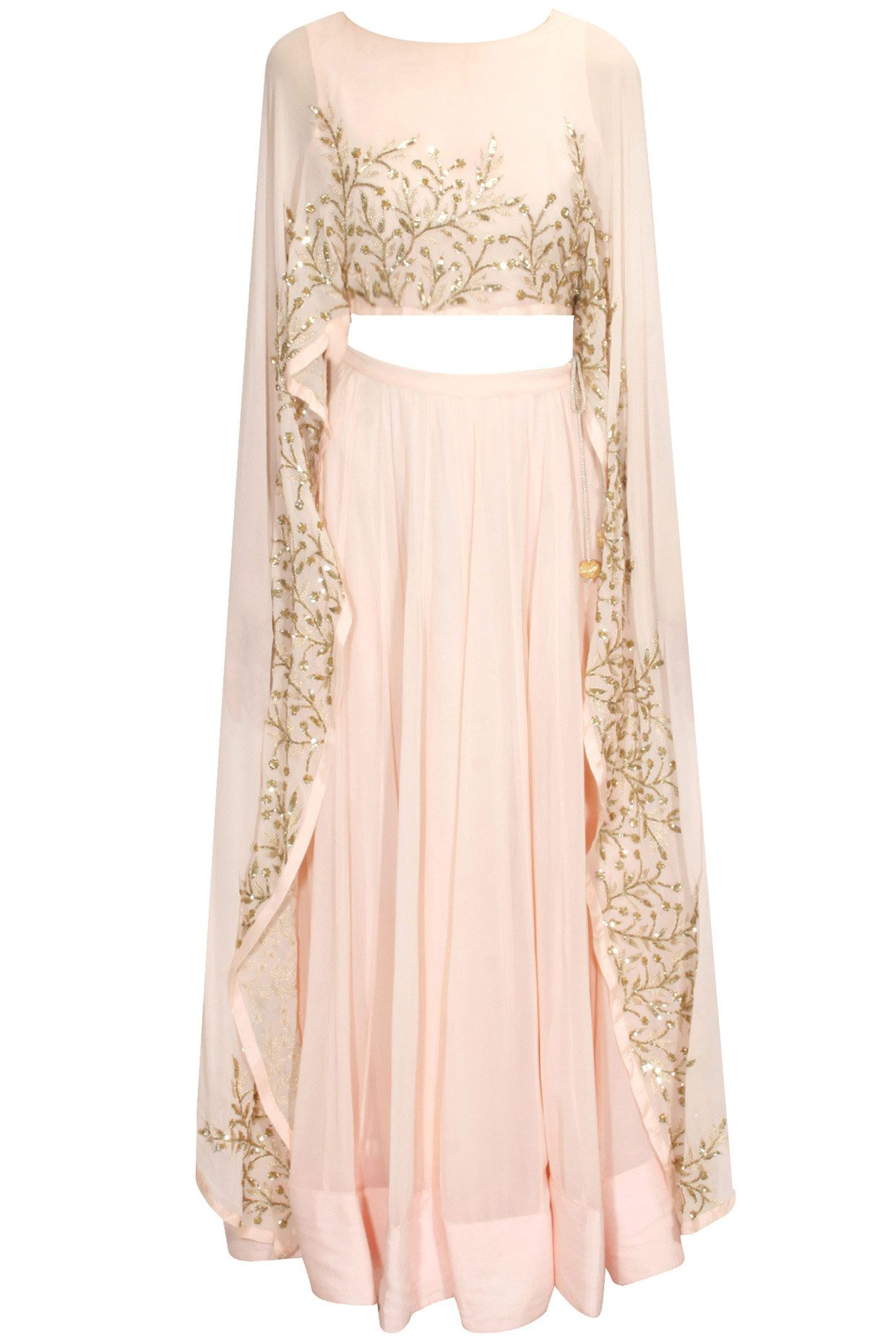 ee6297296b1d Blush pink embroidered cape lehenga set available only at Pernia's Pop Up  Shop.