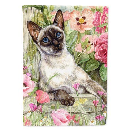 Siamese cat in the Roses Flag Canvas House Size - Walmart.com