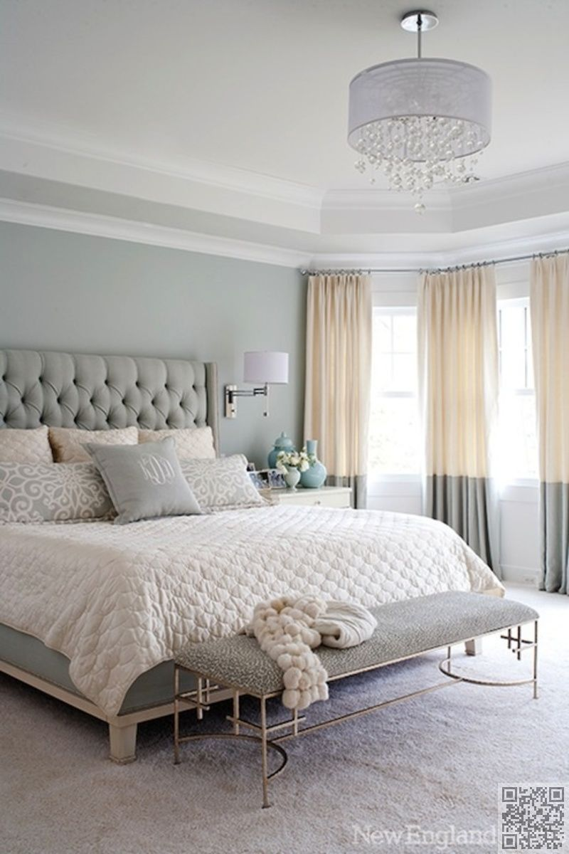 Master bedroom with 2 beds   Soft Grays u Whites   Gorgeous Bedroom Color Schemes