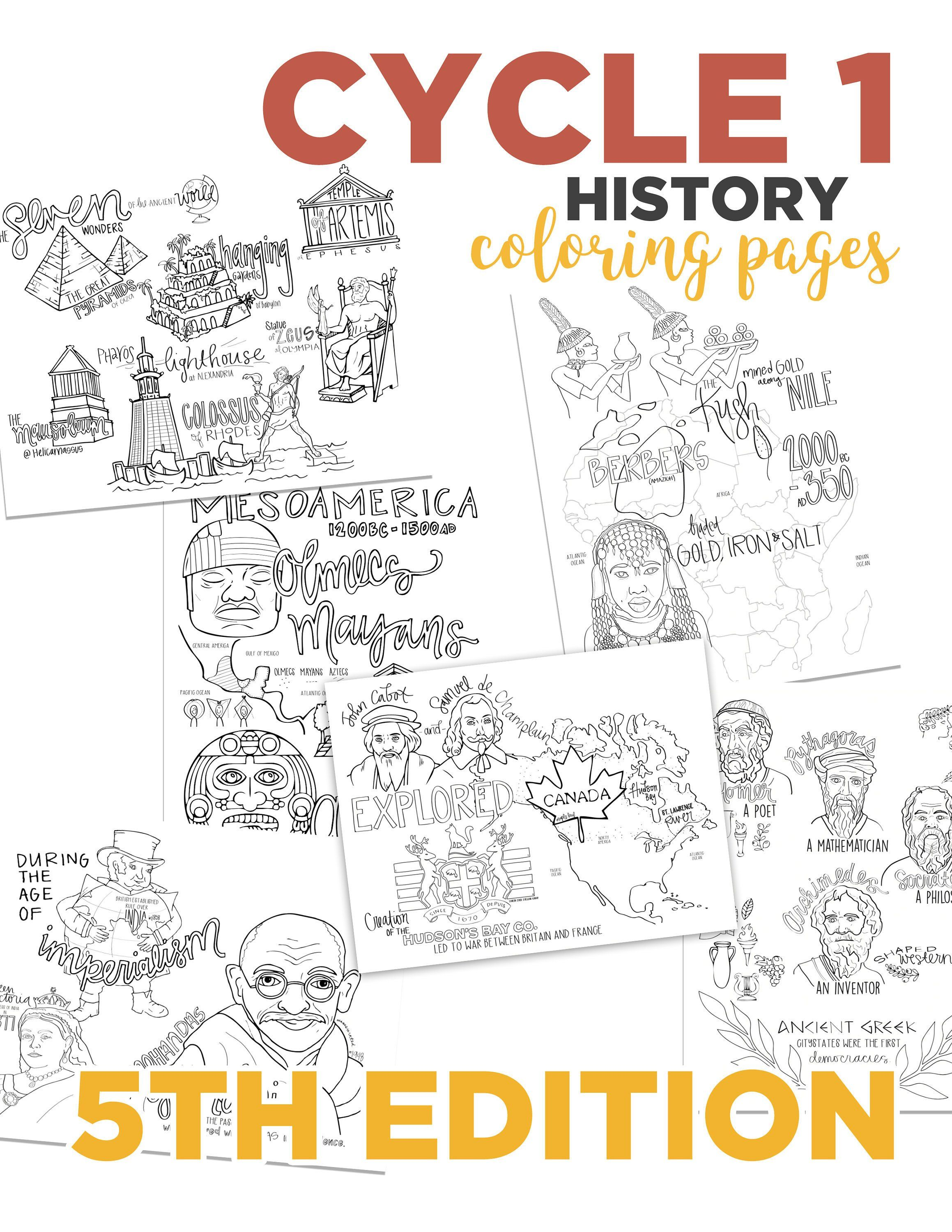 Cycle 1 History Coloring Pages 5th Edition