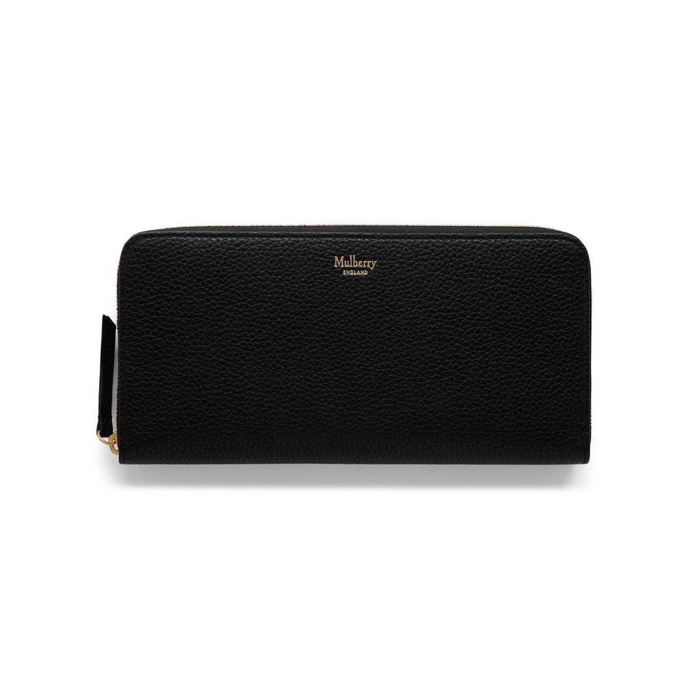 cf3de68fadf3 New Edition!2016 Mulberry Handbags Collection Outlet UK-Mulberry 8 CC Zip  Around Wallet Black Small Classic Grain