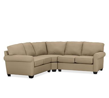 Buchanan Roll Arm Upholstered Curved 3-Piece L-Shaped Sectional, Polyester Wrapped Cushions, Twill Walnut
